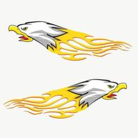 Screaming eagle head with flames vector