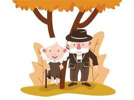 pareja de ancianos en un parque de otoño