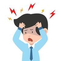 empresario que tiene dolor de cabeza doloroso vector