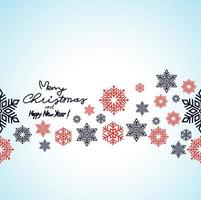 Merry Christmas and Happy New Year with snowflakes