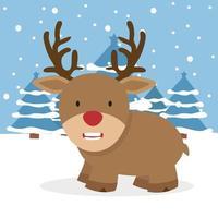 Cute red nosed reindeer in a winter scene vector