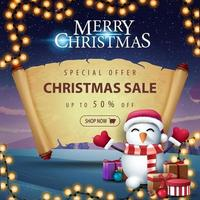 Christmas sale with snowman in Santa Claus hat vector