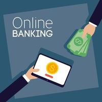 Online banking technology with tablet vector