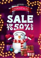 Christmas discount banner with garland and snowman