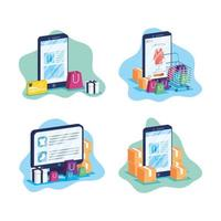 Online shopping and e-commerce on device set vector