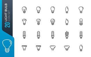 conjunto de iconos de bombilla mínima