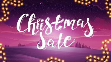 Purple discount banner with large title vector