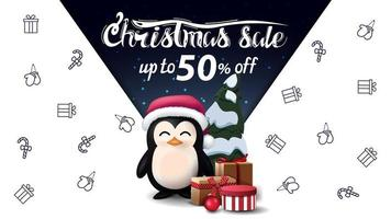 White discount banner with Christmas icons on background vector