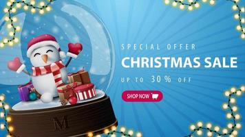 Discount banner with large snow globe with snowman
