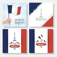 Bastille Day celebration banner set