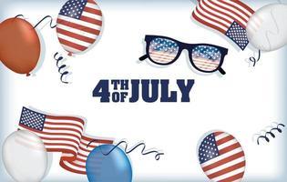 día de la independencia de estados unidos con banderas y globos