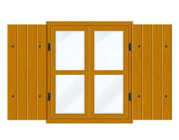 Open wooden window with shutters and transparent glass vector