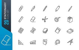 Minimal stationary icon set vector