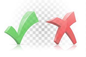 icono marcar sí y cruzar sin marca establecida vector