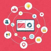 banner de marketing digital con tableta vector