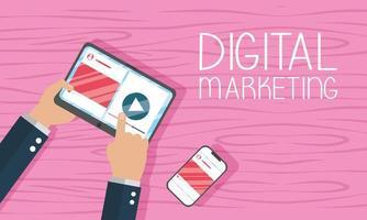 Digital marketing banner with tablet vector