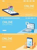 Online shopping and e-commerce banner set vector