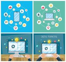 Digital marketing banner set with electronic devices vector