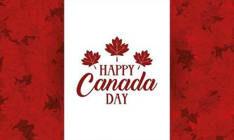 Happy Canada Day celebration banner with maple leaves