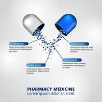 3D capsule pill medicine pharmacy infographic data visualization