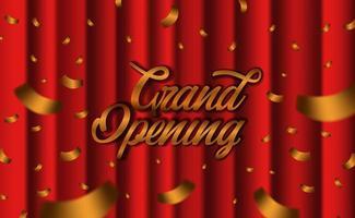 Plantilla de fiesta de gran ceremonia de apertura con confeti dorado vector