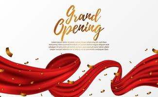 Grand Opening ceremony party template with golden confettio