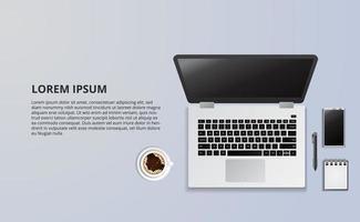 Ilustración de la computadora portátil y el café desde la vista superior vector