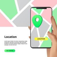 Location directions with smart phone app vector