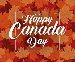 feliz día de canadá celebración banner con hojas de arce