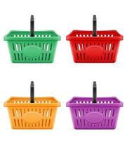Plastic shopping basket set vector