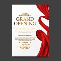 Grand opening ceremony red silk ribbon poster banner vector