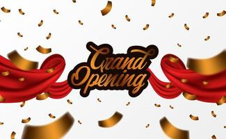 Grand Opening ceremony party template with golden confetti