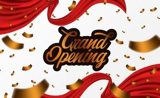 Grand Opening ceremony party template with golden confetti vector
