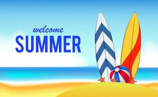hola día de verano viajes vacaciones en la playa vector