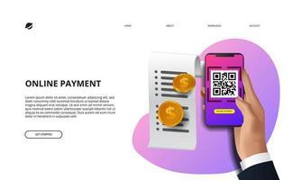 pago en línea escaneo de código qr con teléfono inteligente vector