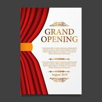 Grand opening party ceremony of red curtain silk vector