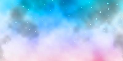 fondo azul claro, rosa con estrellas de colores.