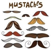 Mustaches set on flat style vector