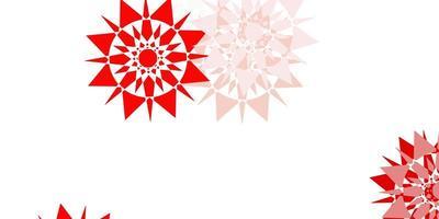 patrón rojo claro con copos de nieve de colores.