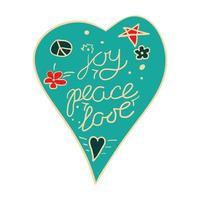 Joy, peace, love heart. vector