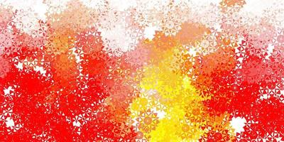 diseño rojo claro, amarillo con hermosos copos de nieve. vector