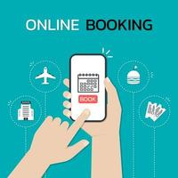 Hands using a smartphone to book a trip vector