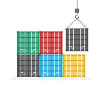 Front view of colorful stacked shipping containers vector