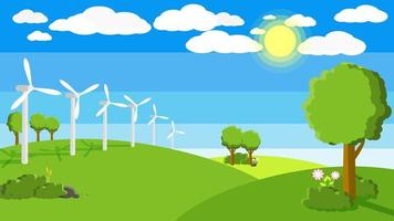 Wind turbines in green fields, natural energy concept