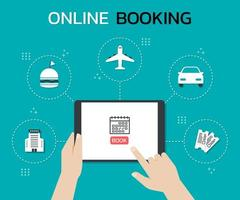 Hands using a tablet to book a trip online vector