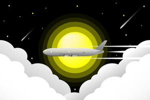 Airplane flying through night sky