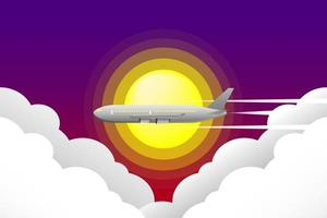 Airplane flying through sun and clouds