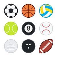Set of flat color sports balls