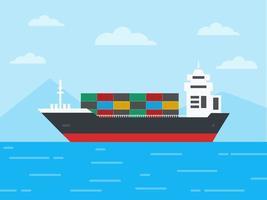 buque de carga de contenedores en el océano vector