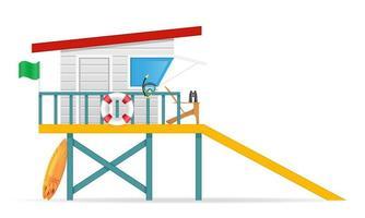 Beach lifeguard tower vector